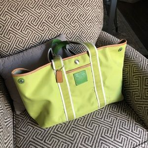 Coach large lime green nylon tote with zipper euc
